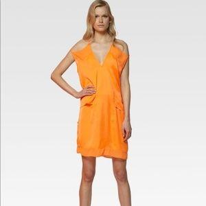 Auth. Helmut Lang Sunset Orange Silk Dress, Sz 0